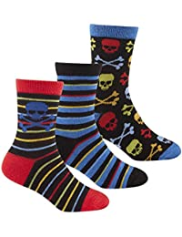 Zest Boys Striped Pirate & Gaming Cotton Rich Socks