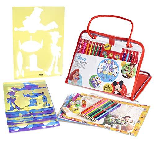 Disney Malset fur Kinder Stiftset Stencil Papier Prinzessin Spielzeug Zeichen Set (Mickey-papier-stempel)