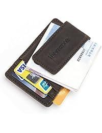 Teemzone Magnético de cuero verdadero clip de dinero café Pinzas para billetes
