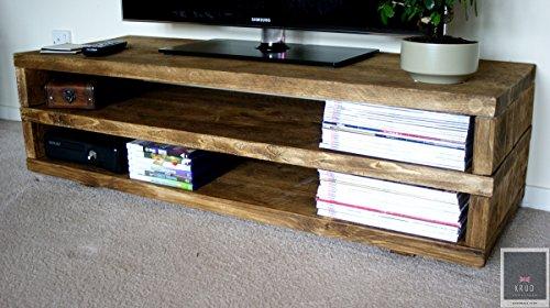 Handgefertigte Eichen Möbel (Krud ~ K22~ Eiche Medium ~ Rustikal TV Ständer ~ handgefertigt ~ Massivholz ~ Gerüst Stil ~ 24Farben ~ Industrie ~ geschoben ~ Rustikal ~ tv ~ Schrank Country)
