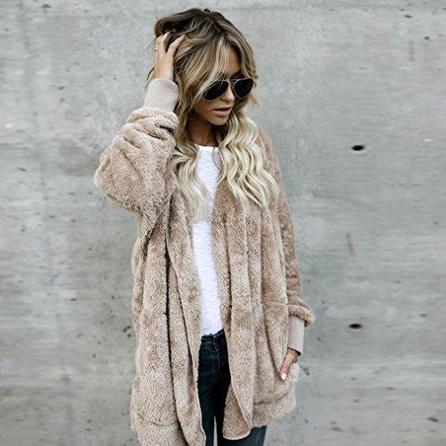 BBring Damen Mode Outwear, 2017 Fall/ Winter Faux Pelz Kapuzen Lange Jacke Kapuzenpullis Parka Strickjacke Mantel (XL, Khaki) - 5