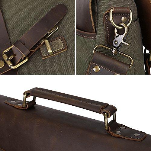 S-ZONE Canvas Genuine Leather Trim Viaggi computer portatile della cartella Messenger Bag Adatto da 17 pollici MacBook Pro o altro 15,6 pollici Laptop verde