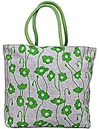 Maitri Jute Green Floral Print Shoulder Bag | Women's Hand Bag | Gift Bag | Tote Bag | Designer Bag