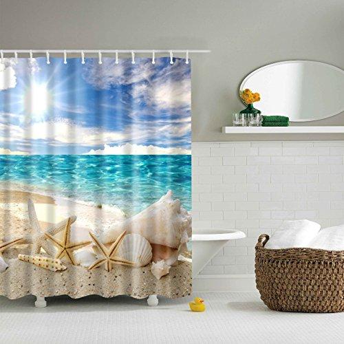 Designer Inspirierte Plaid (Duschvorhang warme Sonne Strand Immersive 12 Haken Bad Dekorationen Badezimmer Dekor Sets mit Haken Ehe Geschenke für Kunstdruck Polyester Stoff)