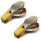 SET di 2 con 4 pezzi con maniglia in alluminio ondulato Camping Posate (coltello, forchetta, cucchiaio, apribottiglie in acciaio inossidabile), pieghevole - posate, colore metallizzato, marca Ganzoo ...