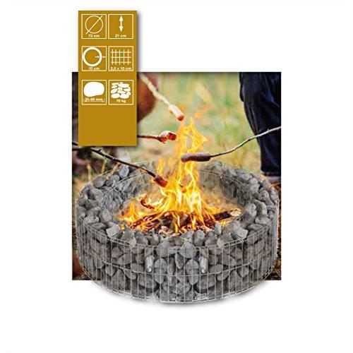 Bellissa Gabione Feuerstelle Lagerfeuer Feuerschale Feuerkorb Feuertonne Feuer MIT STEINEN Basaltschottert Amazon Grün 32/56 mm