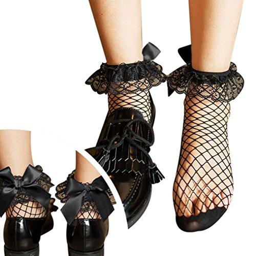 Hohe Knöchel Rüsche Fischnetz Socken Bluestercool Frauen Mesh Lace Fish Net Kurze Socken (Ihrem Bereits Kostüme Kleiderschrank In)