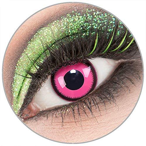 Farbige rosa 'Rose Lunatic' Kontaktlinsen ohne Stärke 1 Paar Crazy Fun Kontaktlinsen mit Behälter zu Fasching Karneval Halloween - Topqualität von 'Giftauge'