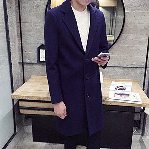 Spritech (TM) - Giacca in lana, da uomo, invernale, slim fit, con colletto, ad un petto, blu navy, XXL