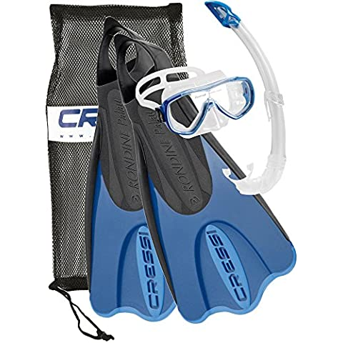 Cressi Elastic Short Bag Set da Snorkeling, Maschera, Pinne e Boccaglio, Nero/Blu, 38/41