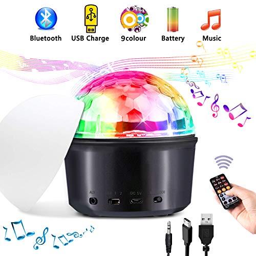 Luces Discoteca, Tencoz Bluetooth Bola Discoteca con Cable USB, LED Giratoria Luz de Fiesta con Control Remoto y 9 Colores RGB, Ideal para Cumpleaños, Discoteca, Fiesta, Bar, Navidad, Bodas