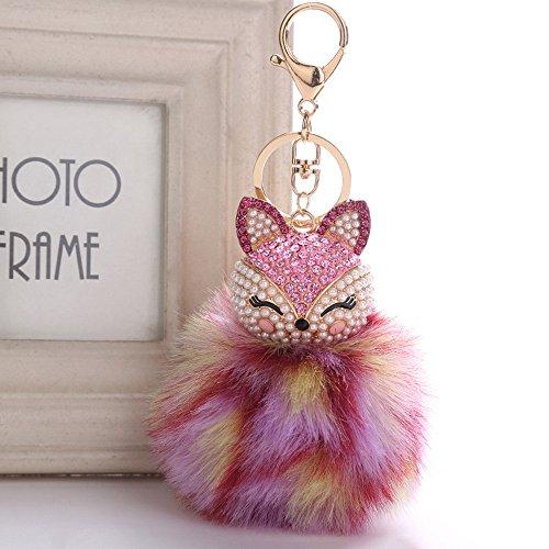 Gaddrt cute Fox Fur Ball Doll Keychain portachiavi intarsio perla strass ciondolo da donna auto portachiavi pompon portachiavi