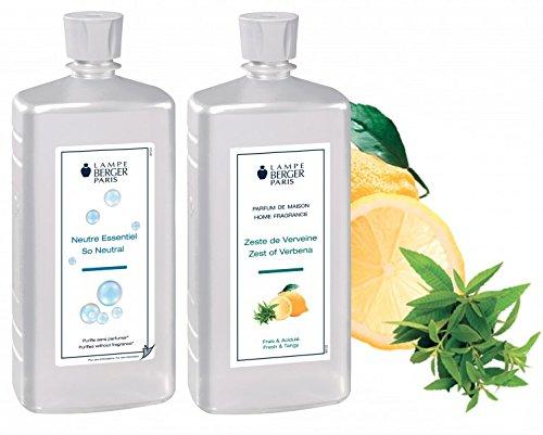 LAMPE BERGER Vorteilsset - 2 Düfte - 1000 ml Neutral und 1000 ml Belebende Frische/Zitronen Verbene/Zeste de Verveine inkl. EO Shopping Bag -