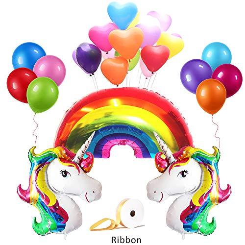 (Topsent Einhorn Thema Party Luftballons Dekoration Set Weihnachten Geburtstage Dekorationen ,Enthält 1pc Ballon Band,3pcs Einhorn Ballons,1pc Regenbogen Ballon,18pcs Party Ballons,10pcs Herz-Ballon)