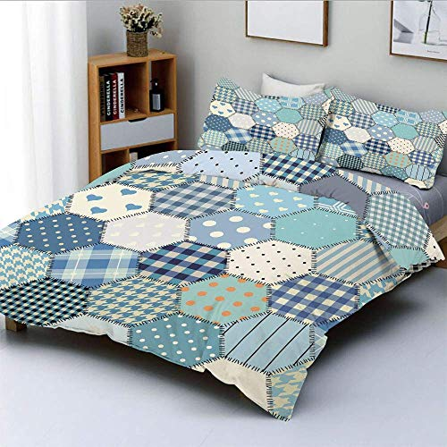 Soefipok Bettbezug-Set, blau getönten Patchwork Sechsecke genäht scheinen Quilt-Muster Retro Fliese Bild DecorativeDecorative 3 Stück Bettwäsche-Set mit 2 Kissen Sham, Multicolor -