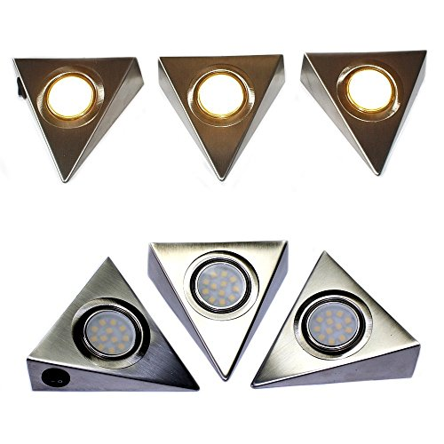 Komerci CL12D5050-CT LED-Unterbau-Set Prisma 12W 3 LED-Strahler warmweiß je 4W, Netzteil Kabel Schalter