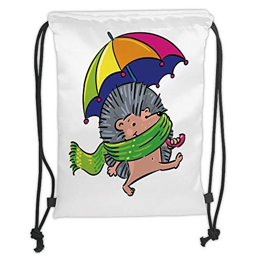 Juzijiang Drawstring Sack Backpacks Bags,Hedgehog,Smiling Animal with Spikes and Scarf Rainbow Colored Umbrella Walking Winter Theme Decorative,5 Liter Capacity,Adjustable.