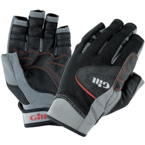 Gill Championship Short Finger Sailing Gloves Black 7241 Sizes- - ExtraLarge