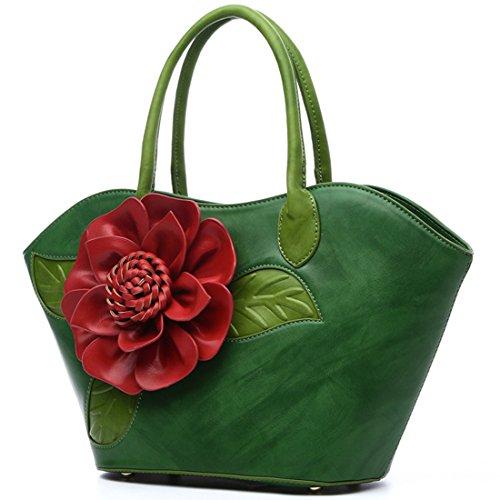 KAXIDY Blume PU Leder Handtasche Beutel Handtaschen Umhängetasche Handtasche für Damen Frauen Grün