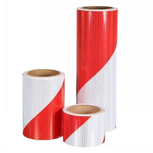Ungfu mall 1pc 5cm/10/20traffic warning strisce riflettenti di sicurezza notturna rosso adesivo nastro sbieco bianco