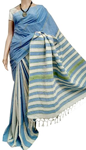 Tant Ghar Women's Cotton Handloom khes Stripe saree with printed blouse (BLUE...