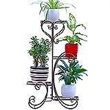 Malayas Etagère de Jardin en Fer Porte-Plantes 4 Couches Flower Rack Intérieur/Extérieur Présentoir de Fleurs pour Balcon Maison Couloir
