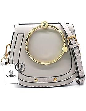 Yoome Elegante Nieten Punk Style Circular Ring Griff Handtaschen Messenger Crossbody Taschen Für Mädchen