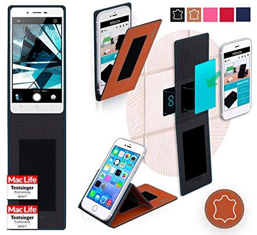 reboon Hülle für Oppo Mirror 5s Tasche Cover Case Bumper | Braun Leder | Testsieger