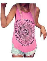 Goodsatar Mezcla de algodón Mujer Impreso por el sol Blusa Chaleco sin mangas Blusa de la
