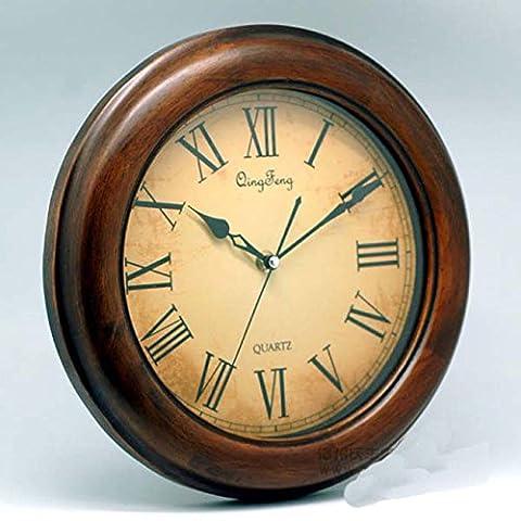 Runde Massivholz Stille Uhr / Holz Wanduhr / einfache kleine frische Holz Wanduhr / Wohnzimmer kreative Uhr , brown
