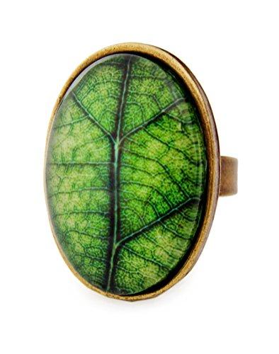 Miss Lovie Damen Mädchen Modeschmuck Schmuck Vintage Blatt Baum Ring Verstellbar Grün - 25x18mm Cabochon Bronze