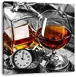 Man Things mit Whiskey und Uhr schwarz/weiß, Format: 40x40 auf Leinwand, XXL riesige Bilder fertig gerahmt mit Keilrahmen, Kunstdruck auf Wandbild mit Rahmen, günstiger als Gemälde oder Ölbild, kein Poster oder Plakat