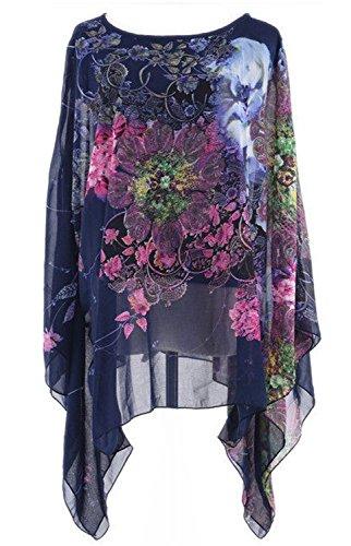 Chiffon Blumenmuster (Azue Damen Loose Überwurf Chiffon Poncho Casual Stola Pullover Lässiger Passform Cape Umhang mit Blumenmuster Dunkelblau One Size)