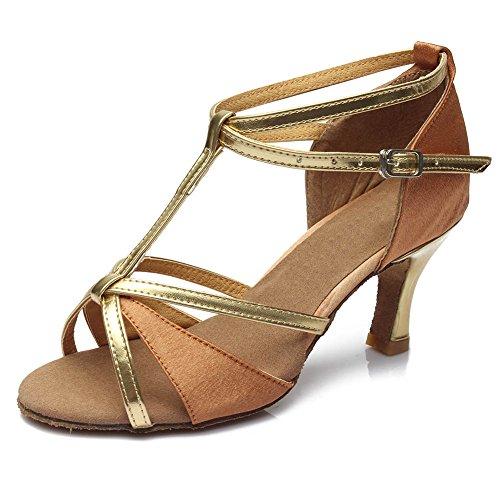 De Para Zapatos marrón Performance Baile Satín Color Dance Hipposeus 39 255 eu Salsa Tacon Mujer Practice Modelo Zapatillas 7cm Latino TK1J3lcF