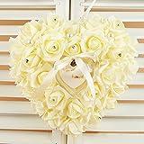 Almohada de anillo de boda, cojín de anillo de boda, caja de corazón con lazo, perla, ceremonia de boda para suministros de boda regalo Tamaño libre beige