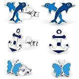 GH* KIDS 3 PAAR Ohrstecker Anker + Schmetterling + Delfin 925 Echt Silber Mädchen Kinder Ohrringe Blau XM507