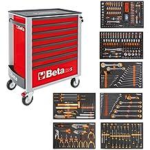 BETA Easy 400S-O8/E-XL 024002293 Carro de herramientas con 8cajones con surtido de herramientas de 384piezas, rojo