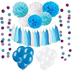Wartoon 43 Pcs Papel Pom Poms Flores Tissue Globo Tassel Garland Polka Dot Kit de Guirnalda de Papel para Las Decoraciones del Banquete de Boda de Cumpleaños - Azul y Blanco