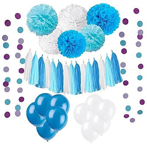 33 Pièces Parti Décoration Kit, Wartoon Ballons de Fête en Latex et Papier Tissu Pom Poms, Paquets Tassel Pompons, Polka Dot Paper Guirlande pour les Fournitures de Mariage Fête Décorations d