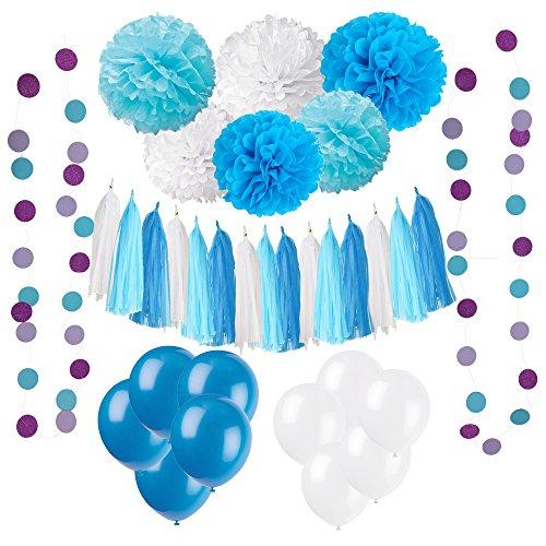 Wartoon 33 Pcs Papel Pom Poms Flores Tissue Globo Tassel Garland Polka Dot Kit de Guirnalda de Papel para las Decoraciones del Banquete de Boda de Cumpleaños - Azul y Blanco