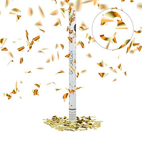 Relaxdays Party-Popper 80 cm, 6-8m Effekthöhe, Konfetti-Shooter, Hochzeit Konfetti-Kanone, Hochzeitsgeschenk, gold