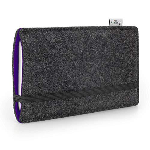 stilbag Funda de Fieltro 'Finn' para Xiaomi Mi A2 Lite | Color: Antracita/Violeta | Bolsa de Fieltro para Smartphone | Cubierta para móvil | Made in Germany