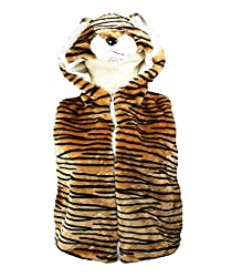 Girls Boys Kids Fun Fleece Fur Animal Gilet Body Warmer