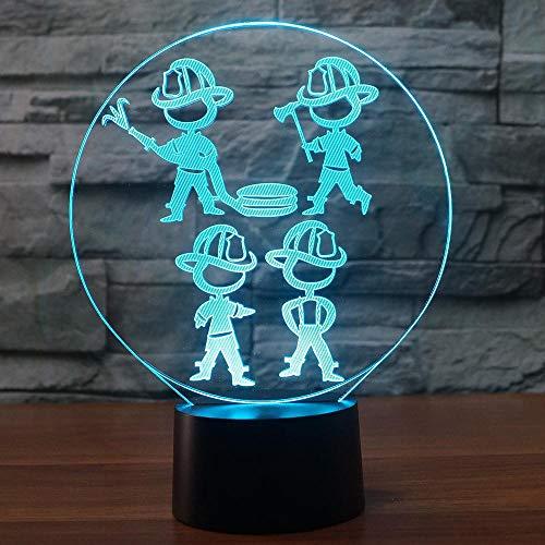 ichter Usb Feuerwehr Modelling 3D Led Home Kids Touch-Schreibtisch Tischlampe für Wohnzimmer -Dekor ()