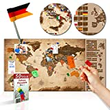 decomonkey | Rubbelweltkarte Pinnwand DEUTSCH | 90x45 cm | Weltkarte zum Rubbeln mit Fahnen/ NationalfLaggen | Rubbelkarte | FULL HD | Rubbellack | Rubbelbild | Mehrfarbiger Rubbellack | Scratch Off World | Travel Map | Landkarte | inkl. 50 Markierfähnchen | Pinnadeln