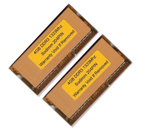 Komputerbay 8GB (2X4GB) DDR3 SODIMM (204 pin) 1333Mhz PC3 10600 8 GB mit SODIMM Kühlkörper für zusätzliche Kühlung (9-9-9-25)