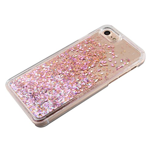 Custodia per iPhone 7 Case,Cover per iPhone 7,TOYYM - Love Heart Star Crystal Case Cover, Resistente Chiaro Trasparente [Bling Liquid] con divertente liquido flottante 3D con lussiosi glitter per iPho Color 30#