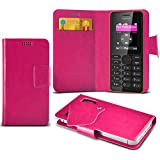 (Hot Pink) Nokia 108 Duel Sim Super dünne Kunstleder Saugnapf Wallet Case Hülle mit Credit / Debit Card SlotsBy Spyrox