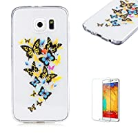 For Samsung Galaxy S6 Case [with Free Screen Protector], Funyye Lightweight Ultra Slim Anti Scratch Transparent Soft Gel Silicone TPU Bumper Protective Case Cover Shell for Samsung Galaxy S6 - Butterfly