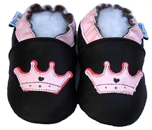 Custodia in pelle con pantofole - scarpine prima - Jinwood - corona - Baby - bambini - Scarpe - Custodia in pelle Marrone (marrone)